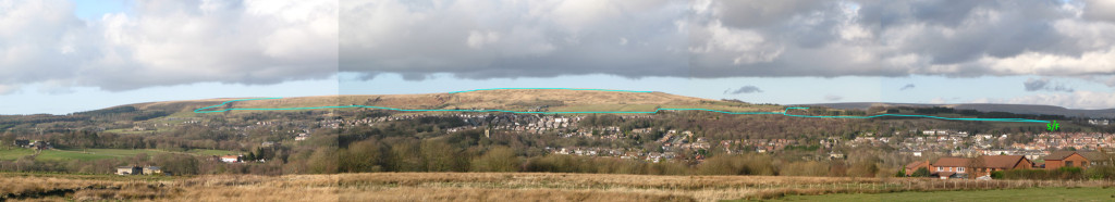 View from lower Affetside of the east side of Turton Heights and route.